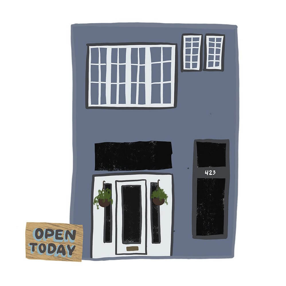 Illustration of our shop by Sarah Der for B Side Collective